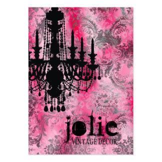 Damasco del gris del rosa de la lámpara de la tarjetas de visita grandes