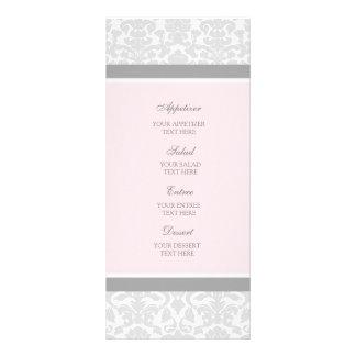 Damasco del gris del rosa del menú del boda plantilla de lona