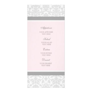 Damasco del gris del rosa del menú del boda tarjetas publicitarias personalizadas