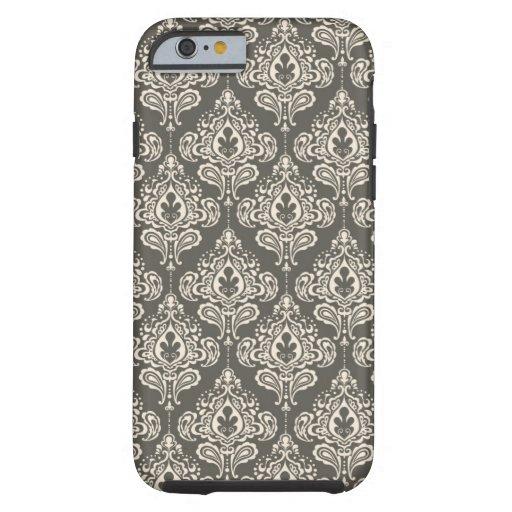 Damasco del gris del vintage funda de iPhone 6 tough