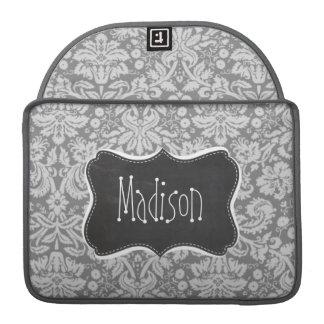 Damasco del gris del vintage; Mirada de la pizarra Funda Para Macbook Pro