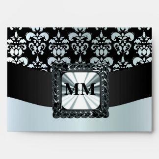 Damasco del gris negro y de plata sobre