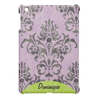 Damasco del Grunge de la lavanda y nombre del mode iPad Mini Cobertura