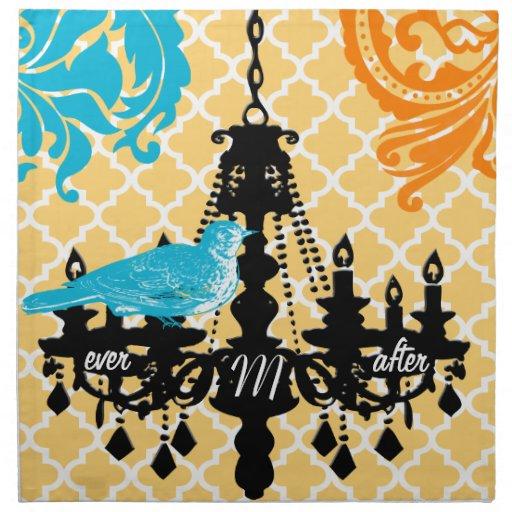 Damasco del marroquí de la lámpara del monograma servilletas