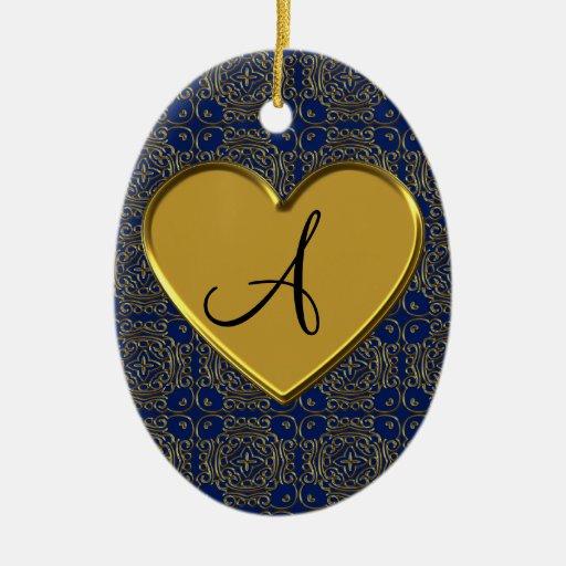 Damasco del marroquí del oro de los azules marinos adorno ovalado de cerámica