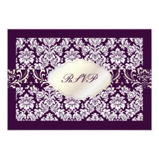 Damasco del moiré del rsvp de PixDezines+Color de Invitacion Personalizada