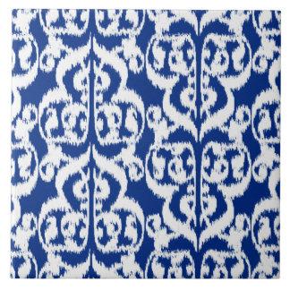 Damasco del Moorish de Ikat - azul y blanco de Azulejo Cuadrado Grande