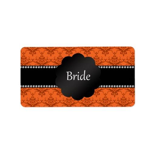 Damasco del naranja de los regalos de la novia etiquetas de dirección