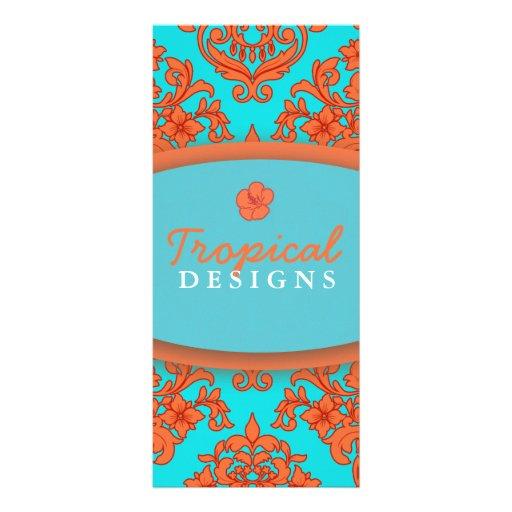 Damasco del naranja y de la turquesa tarjeta publicitaria a todo color