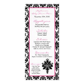 Damasco del negro de 25 del menú rosas fuertes de tarjeta publicitaria a todo color