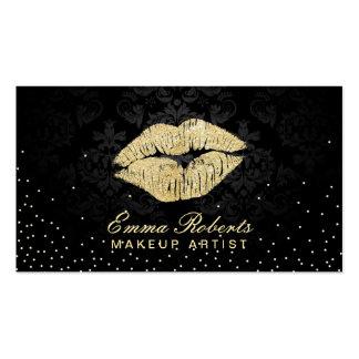 Damasco del negro del beso del oro del salón de tarjetas de visita
