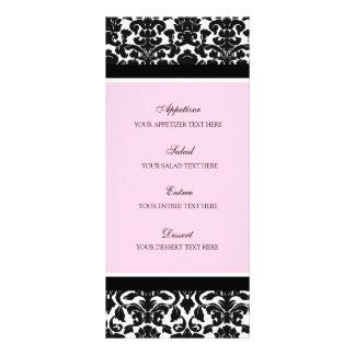 Damasco del negro del rosa del menú del boda plantillas de lonas