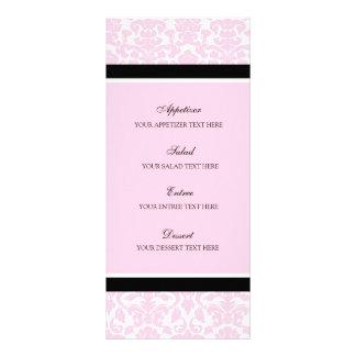 Damasco del negro del rosa del menú del boda tarjeta publicitaria