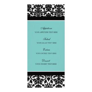 Damasco del negro del trullo del menú del boda tarjeta publicitaria a todo color