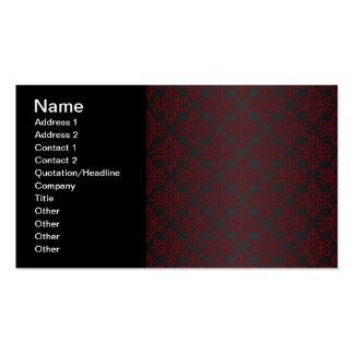 Damasco del negro oscuro y del rojo tarjetas personales