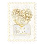 Damasco del oro afiligranado y invitación del boda invitación 12,7 x 17,8 cm