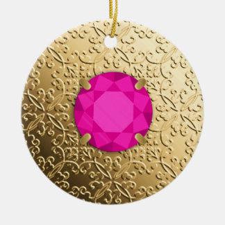Damasco del oro con una falsa gema rosada del adorno navideño redondo de cerámica