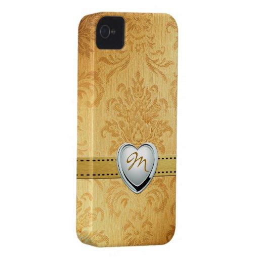Damasco del oro del vintage con el monograma iPhone 4 Case-Mate cárcasas