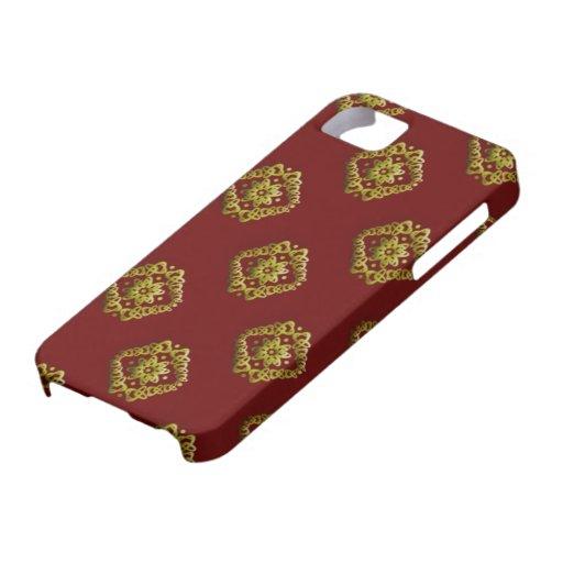 Damasco del oro en la cubierta (adaptable) marrón  iPhone 5 Case-Mate protector