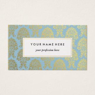 Damasco del oro en tarjeta de visita azul clara
