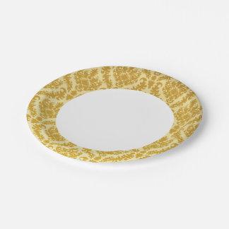 Damasco del oro plato de papel de 7 pulgadas