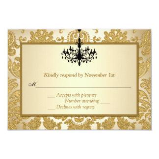 """Damasco del oro, tarjeta de contestación del invitación 3.5"""" x 5"""""""
