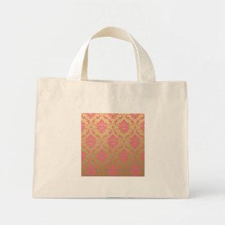 Damasco del oro y de la obra clásica del rosa bolsa tela pequeña
