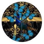 Damasco del pavo real y del oro reloj de pared
