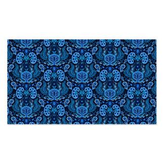 Damasco del riñón en azules marinos tarjetas de visita