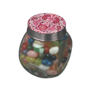 Damasco del riñón en rosa jarras de cristal jelly bely