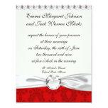 damasco del rojo de dos tonos invitaciones personales