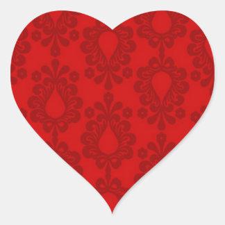 damasco del rojo de dos tonos pegatina corazon personalizadas