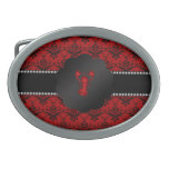 Damasco del rojo de la langosta hebillas de cinturón ovales