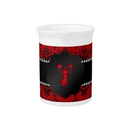 Damasco del rojo de la langosta jarra de beber