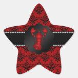 Damasco del rojo de la langosta pegatina en forma de estrella