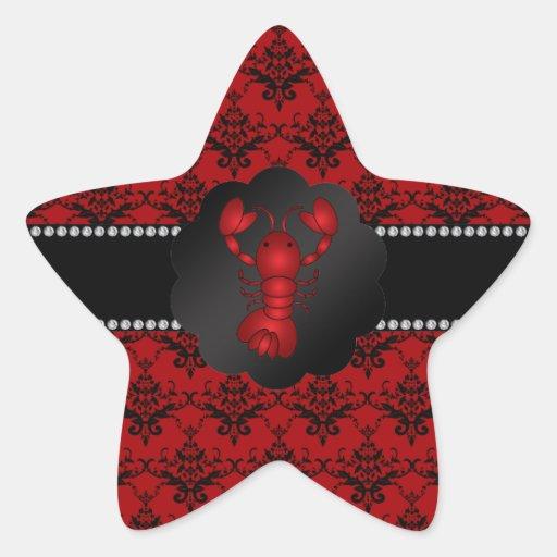 Damasco del rojo de la langosta pegatina forma de estrella personalizada