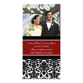 Damasco del rojo de la tarjeta de la foto de la in tarjeta personal con foto