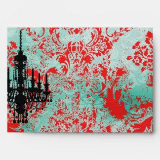 Damasco del rojo de la turquesa de la lámpara de l sobres