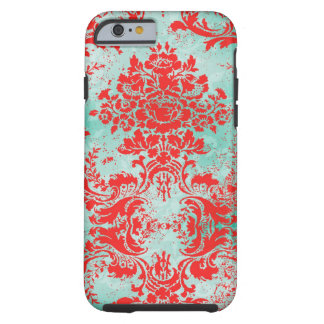 Damasco del rojo de la turquesa del vintage de la funda de iPhone 6 tough