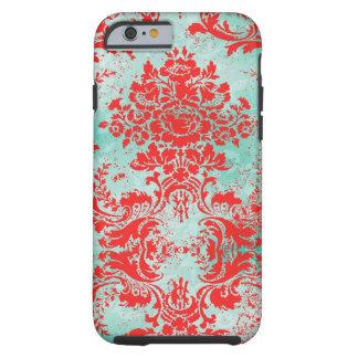 Damasco del rojo de la turquesa del vintage de la funda para iPhone 6 tough