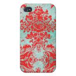 Damasco del rojo de la turquesa del vintage del iP iPhone 4 Carcasa