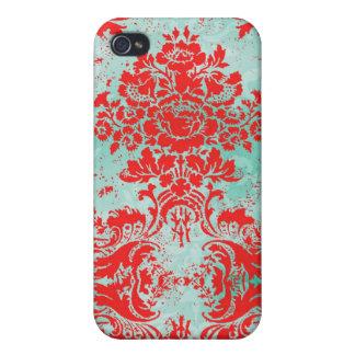 Damasco del rojo de la turquesa del vintage del iP iPhone 4 Carcasas