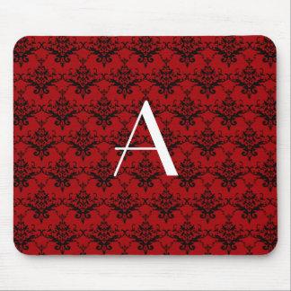 Damasco del rojo del monograma tapetes de ratones