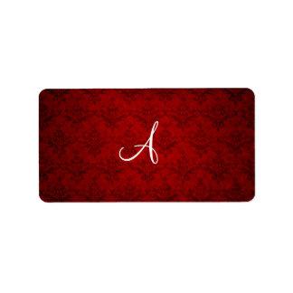 Damasco del rojo del vintage del monograma etiquetas de dirección