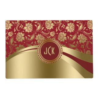Damasco del rojo y del oro de Borgoña y diseño Tapete Individual