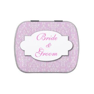 Damasco del rosa del favor de banquete de boda latas de dulces