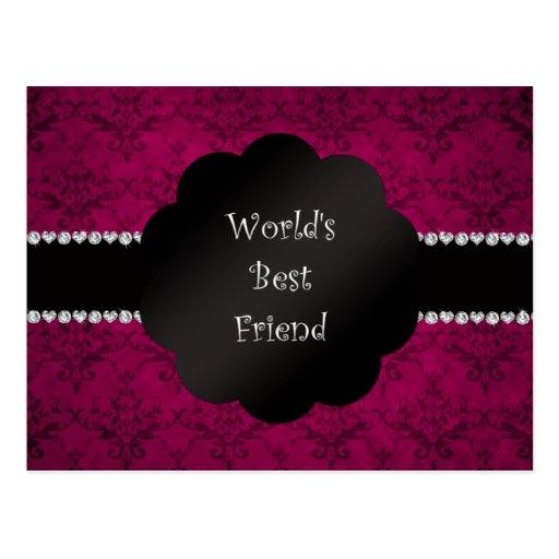 Damasco del rosa del mejor amigo del mundo tarjetas postales