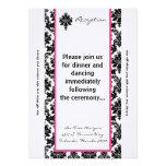 damasco del rosa del negro de la tarjeta de la rec comunicados personalizados