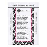 damasco del rosa del negro de la tarjeta de las di invitación personalizada