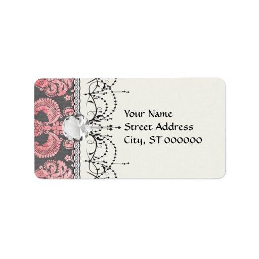 damasco del rosa del vintage del inricate en gris  etiquetas de dirección